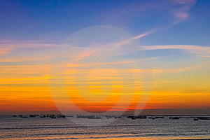 Ocean Coast Sunset And Fishing Boats Stock Images - Image: 23076204