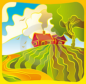 Rural Landscape With Housesl Royalty Free Stock Image - Image: 23076636