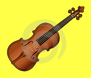 Violin On Yellow Background Stock Photos - Image: 23094003