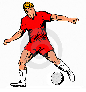 Striker Driblling Ball Red Stock Photography - Image: 2314932