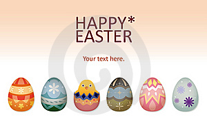 Easter Chick And Eggs Card Stock Image - Image: 23115771