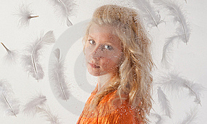 Pretty Teen With Feathers Stock Images - Image: 23119714