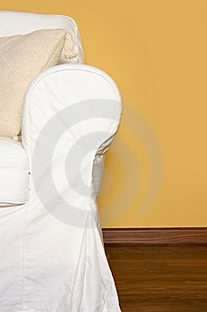 White Couch Near Yellow Wall Royalty Free Stock Photography - Image: 23120987