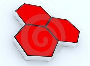 Three Blank Red Hexagon Box Display Royalty Free Stock Photo - Image: 23124165