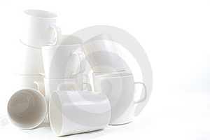 Many Stacked Of White Cups Stock Photo - Image: 23129630