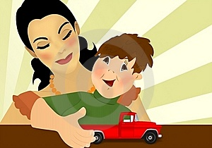 Mother And Son, Cdr Vector Stock Photography - Image: 23144572