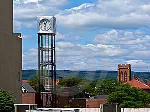 Modern Cube-Shaped Clock Tower In Mountain Setting Stock Photography - Image: 23160462