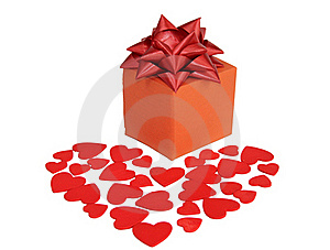 Valentines Heart And Gift Box Stock Images - Image: 23164184