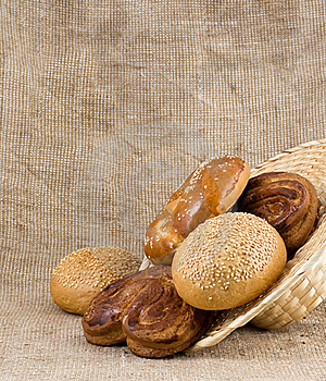 Panary Rolls Pour Out From A Basket Stock Photo - Image: 23169470