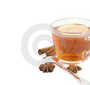 Cup Of Black Tea With A Lemon, Cinnamon, Anise Royalty Free Stock Image - Image: 23169556