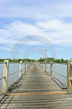 Wood Bridge Over A River Stock Photos - Image: 23174753
