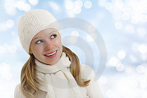 Beautiful Happy Girl In Winter Hat And Scarf Royalty Free Stock Photography - Image: 23182557