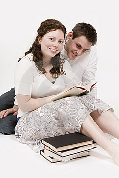 Couple reading Stock Photography