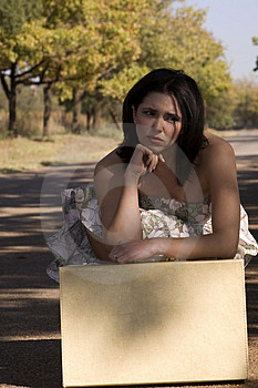 Sad Brunette With Suitcase Stock Photo - Image: 2327160