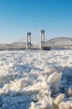 Bridge Over Frozen River Stock Photo - Image: 23205650