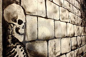 Skull Painted On A Wall Royalty Free Stock Images - Image: 23206729
