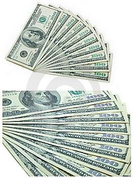 Ten Banknotes Of 100 Dollars Stock Image - Image: 23209331