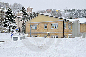 Elementary School In The Snow Royalty Free Stock Images - Image: 23216169