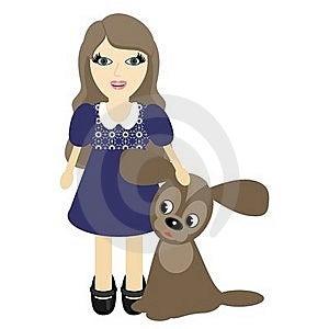 Nice Girl With Dog Stock Photo - Image: 23224400