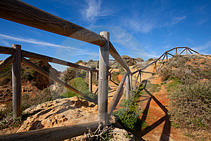 Wooden Railings On The Cliff Royalty Free Stock Image - Image: 23235176