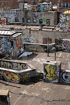 Graffiti Rooftop Stock Image - Image: 23244541