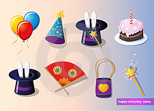 Birthday And Party Set Stock Photos - Image: 23251273