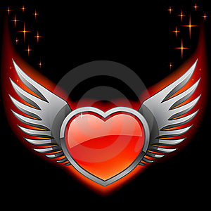 Glossy Red Heart With Iron Wings On The Black Royalty Free Stock Image - Image: 23266356
