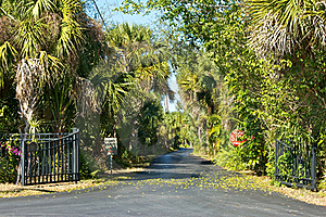 Entrance To Tropical Private Road Royalty Free Stock Images - Image: 23270369