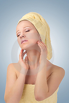 Beautiful Girl In Yellow  Towel Feels Pleasure Royalty Free Stock Image - Image: 23292076