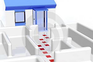 Maze And House Royalty Free Stock Image - Image: 2337906