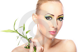 Beautiful Blonde With Bamboo Leaves Stock Photography - Image: 23311112