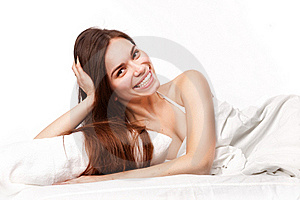 Beautiful Woman Lying Down In Bed Royalty Free Stock Photo - Image: 23321895
