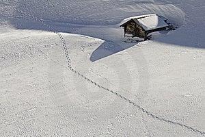 Snowbound Hut With Snow Shoe Tracks Royalty Free Stock Photo - Image: 23321905