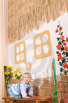 Children In Ukrainian National Costume On Bench Royalty Free Stock Photo - Image: 23330705