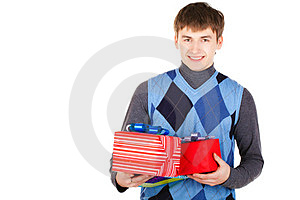 Present Gift Holding Man Looking Camera Stock Photo - Image: 23330950