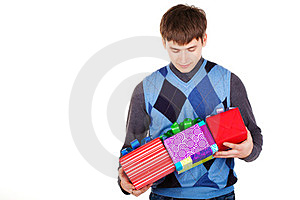Present Gift Holding Man Stock Photography - Image: 23330962