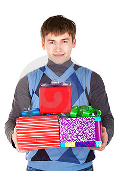 Present Gift Holding Man Looking Camera Stock Photo - Image: 23330970