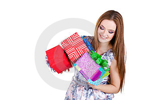 Beautiful Girl Holding Gifts Isolated Royalty Free Stock Photos - Image: 23331158