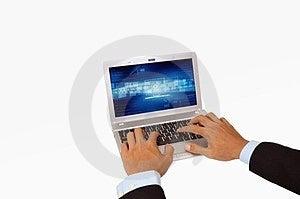 Businessman Hand Using Laptop Isolated Stock Photo - Image: 23343970