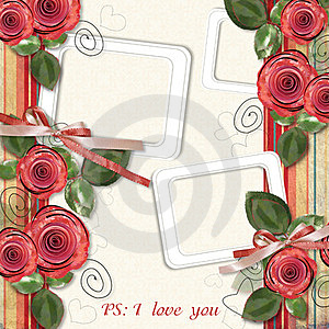 Retro Card With Roses For Congratulations Stock Images - Image: 23352854
