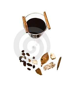 Mulled Wine, Cinnamon And Spices Royalty Free Stock Photo - Image: 23352855