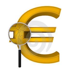 Magnifying Euro Crack Royalty Free Stock Photo - Image: 23358925