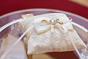 Wedding Rings On The Pillow Royalty Free Stock Photography - Image: 23359607
