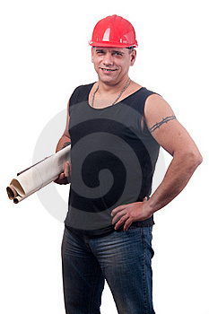 Strong Physical Worker With Helmet And Blueprints Stock Images - Image: 23360294