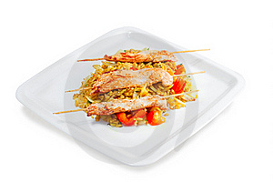 Kebab With Rice And Vegetables Stock Photography - Image: 23361452