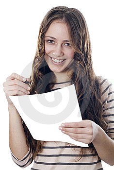 Beautiful Girl With Pencil And Paper Royalty Free Stock Photo - Image: 23368235