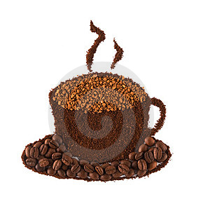 Cup Of Coffee Made Of Grains Stock Photo - Image: 23373650