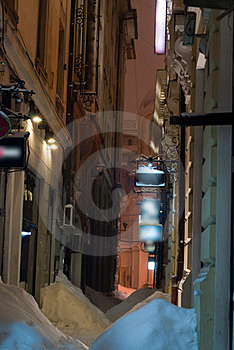 Narrow Alley In Winter Royalty Free Stock Photography - Image: 23373857