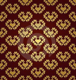 Seamless Pattern. Gold Hearts Stock Image - Image: 23374671