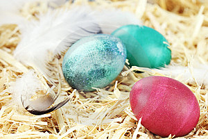 Easter Eggs In Straw Royalty Free Stock Images - Image: 23375129